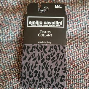 Emilio Cavallini Black & Grey Animal Print Tights